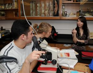 Student teaching a biology course