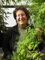 Dr. Lynn Clark in the grass room of the Pohl Conservatory